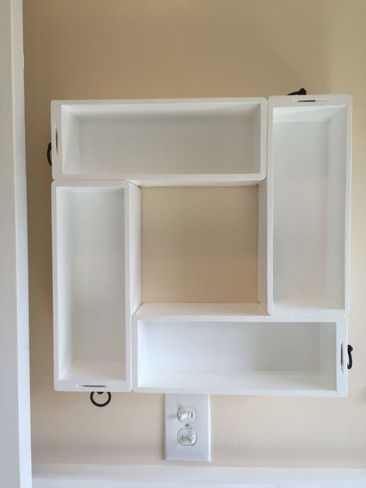 Old sewing machine cabinet drawers up cycled to bathroom shelves