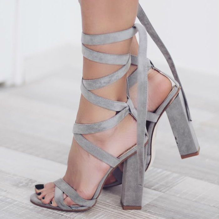 Lace Up Block High Heels