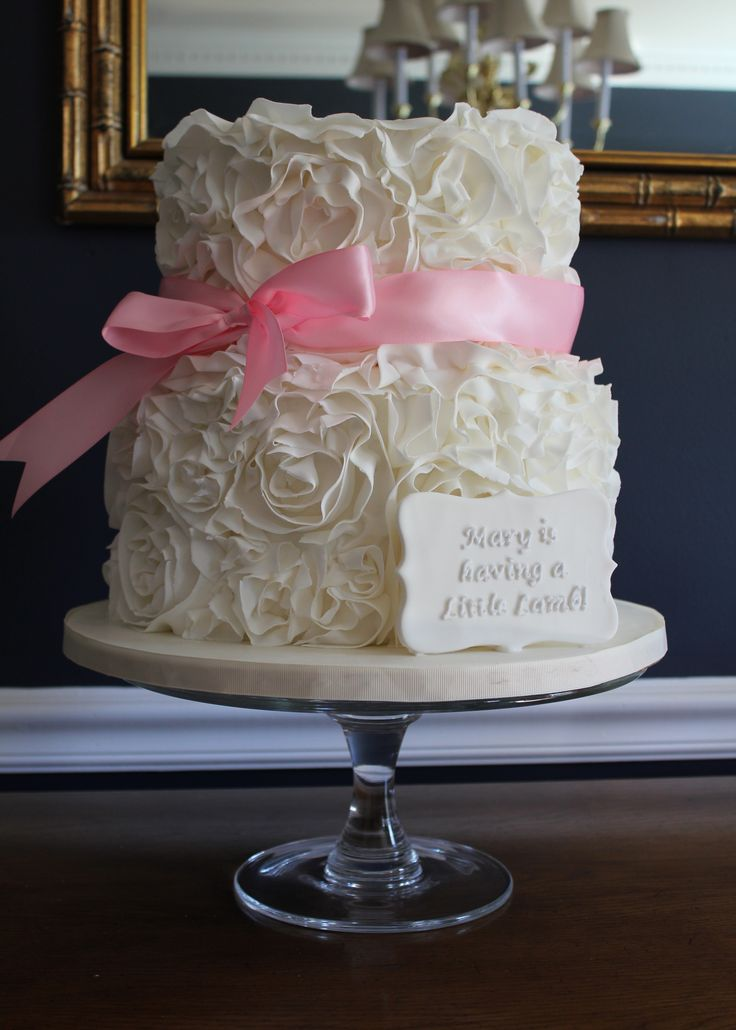 Ruffle Rosette Cake For A Baby Shower Inside Was Vanilla