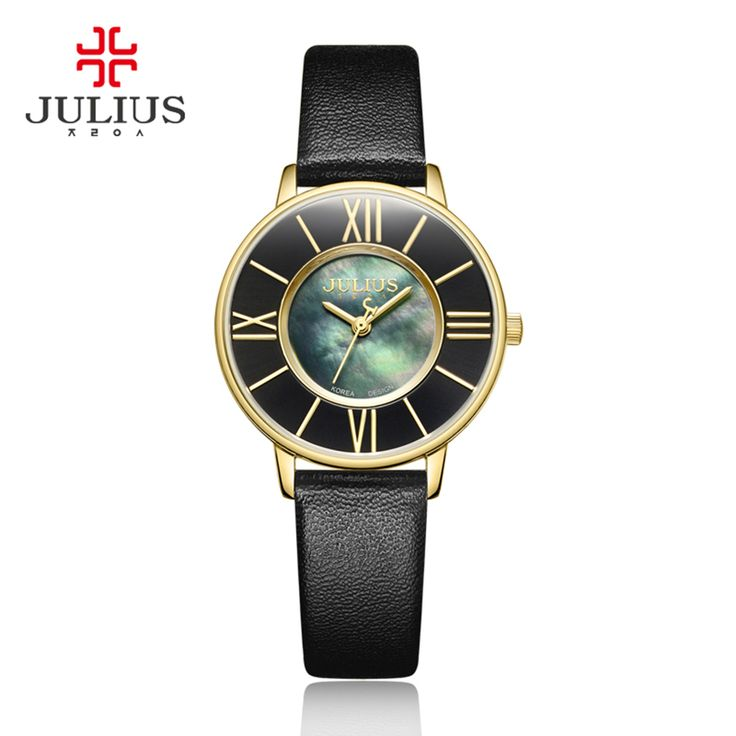 >> Click to Buy << JULIUS Small Womens Saat Fashion Watches Roman Numerals Dial Thin Leather Shell dial 3 Bar Waterproof Round Shape Quartz Watches #Affiliate