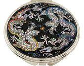 Mother of Pearl Makeup Mirror two dragon Design Cosmetic mirror Handbag Purse handheld Compact hand pocket Mirror