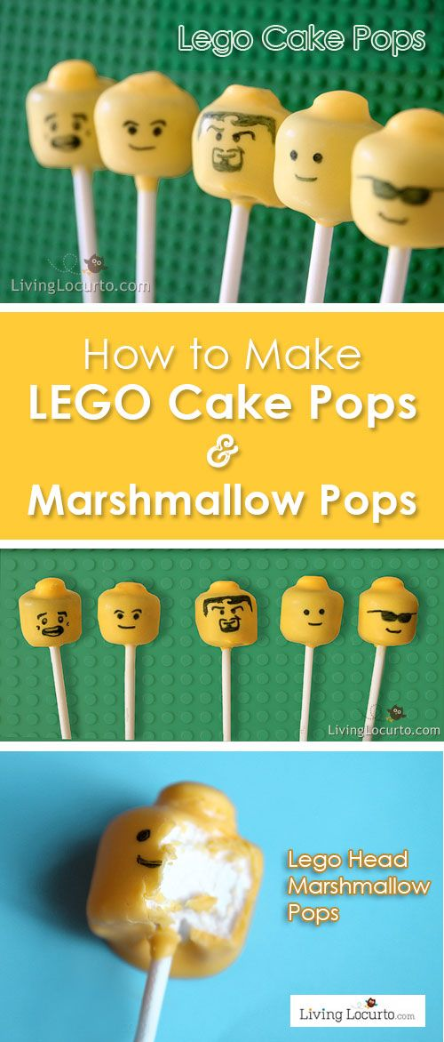 "How to make Lego Cake Pops & Marshmallow Pops. Easy fun food party idea for a Lego Themed Birthday party. The ""Original Lego Cake Pops"" by LivingLocurto.com"