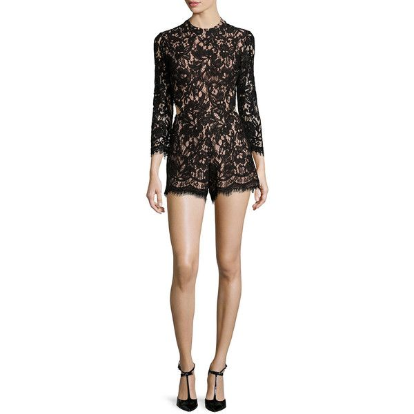 Alexis Brixen Long-Sleeve Lace Romper (£350) ❤ liked on Polyvore featuring jumpsuits, rompers, black, long sleeve romper, lace rompers, long sleeve lace romper, black long sleeve romper y black lace romper