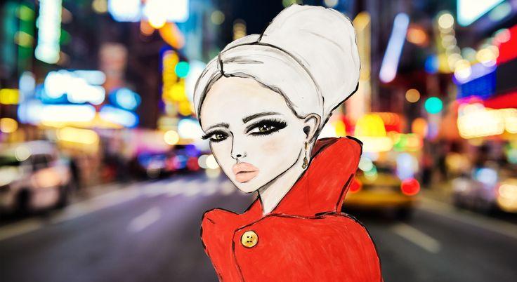 Illustrated Girl in New York City