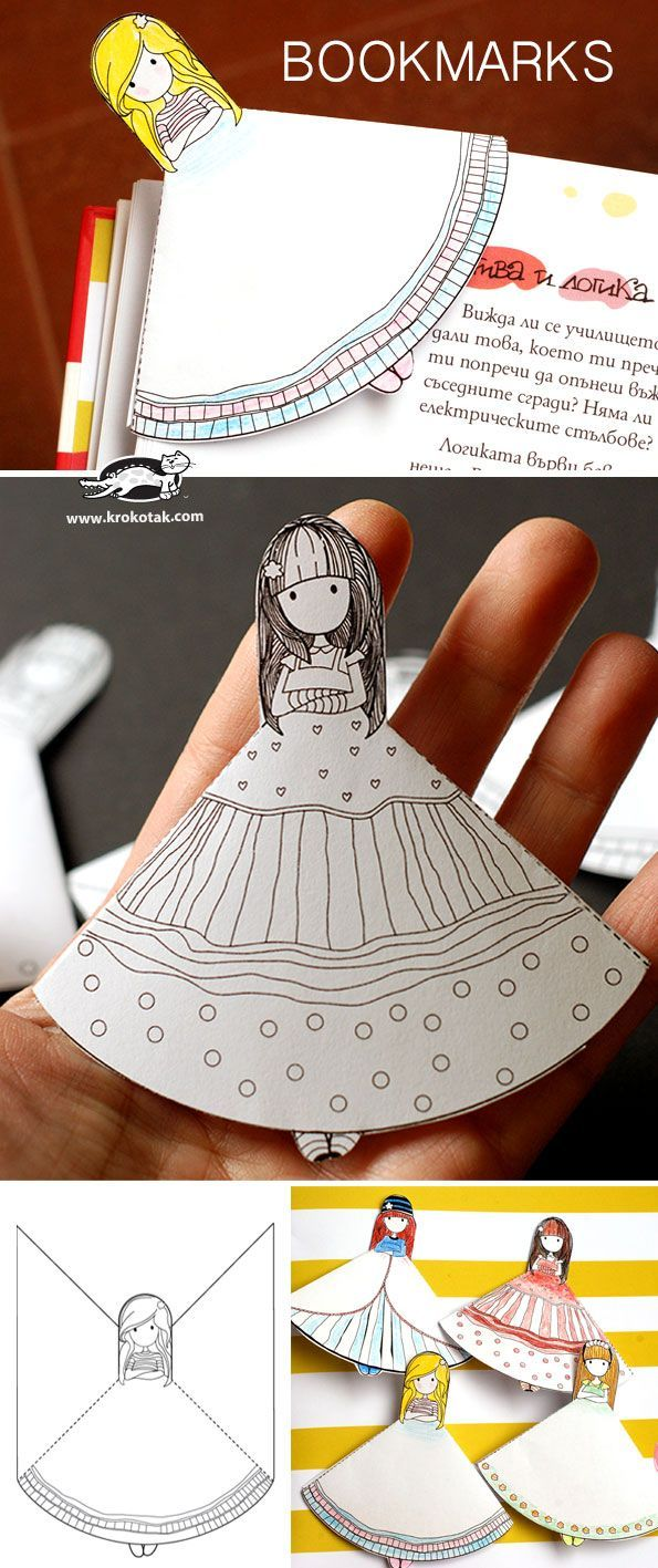 Free printable doll bookmarks that kids can color.