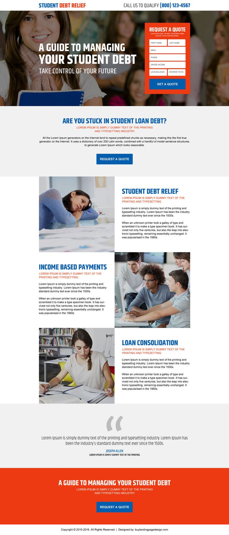 student debt relief guide converting responsive landing page design