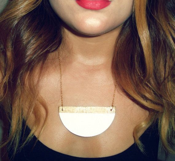 Handmade Wooden Geometric Half Circle Necklace by 2good2beWood