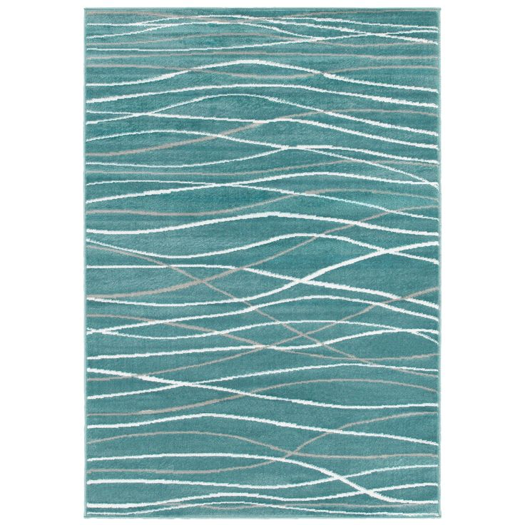 With this LNR Home Grace LR81125 Teal Rug in your room, your interior decor will really shine. Featuring a stripe design, this blue and grey rug brings contemporary style to your home. This rug is made of frise soft olefin yarn for a soft pile.