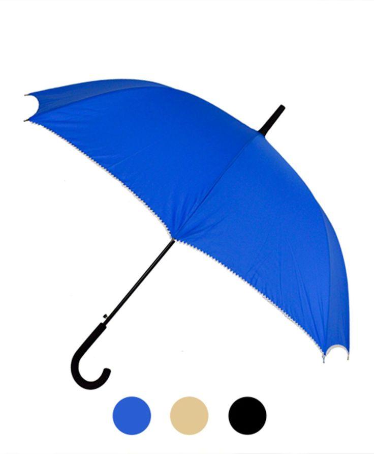 Nollia Long Stick Umbrella, Blue;Black;Cream, Parasols & Rain Umbrellas