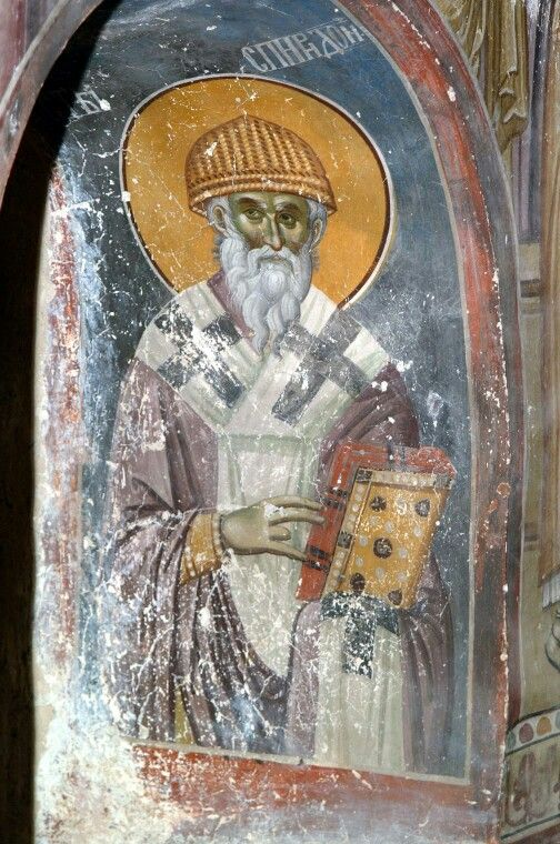 Saint Spyridon - as depicted in the earlier fourteenth-century frescoes (betw. ca. 1313 and 1320) by Michael Astrapas and Eutychios in the King's Church (dedicated to Sts. Joachim and Anne) in the beautiful Studenica monastery near Kraljevo in Serbia / Ἅγιος Σπυρίδων