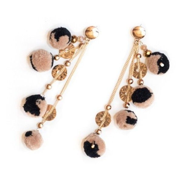 Pom Pom Leopard Earrings, shoulder grazing earring perfect with the off the shoulder look.