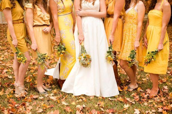 mismatched yellow bridesmaid dresses, rustic wedding fashion