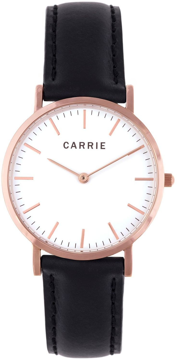 Rødguld dameur med klassisk sort læderrem - Carrie Taylor Rosegold Black Leather CA3602BL