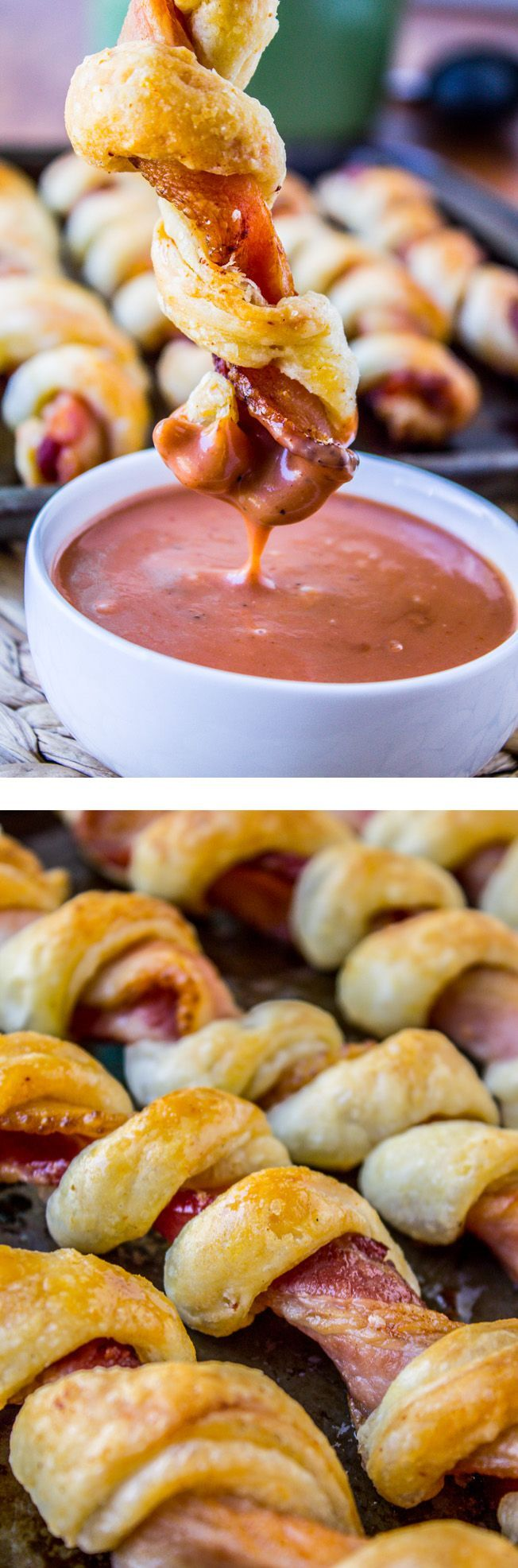 Puffy Bacon Twists w/ BBQ-Ranch Sauce from The Food Charlatan // Bacon twisted around buttery dough and baked til crisp. Easy side dish or appetizer for your summer parties!