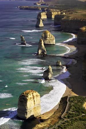 Twelve Apostles, Port Campbell National Park, Great Ocean Road, Victoria, Australia - aerial