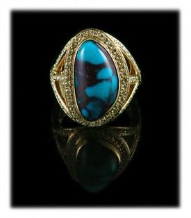 Gold Bisbee Turquoise and Diamond Ring For Women