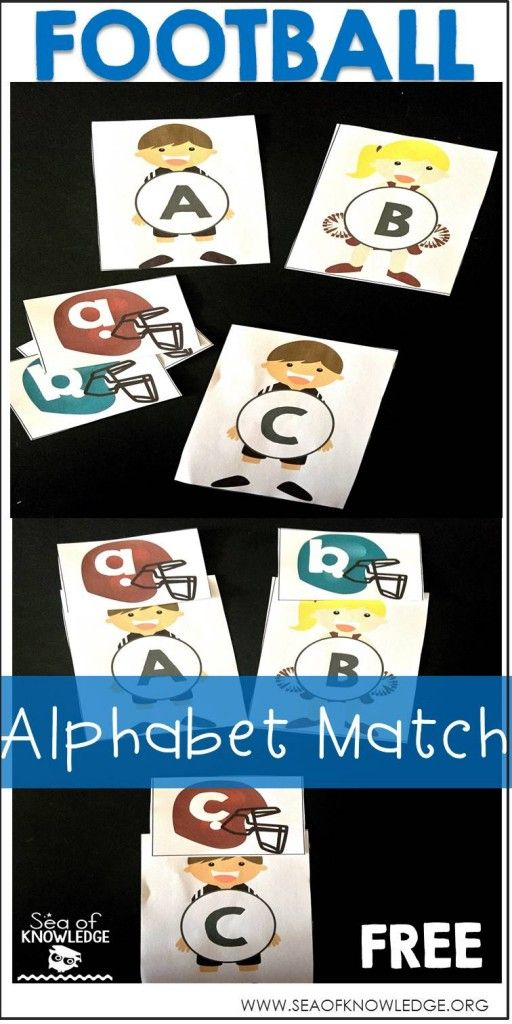 Alphabet Upper and Lowercase Football Matching Cards - Sea of Knowledge
