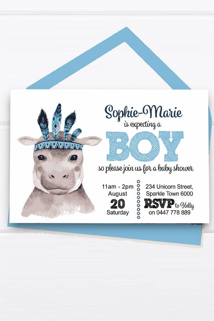 Baby Shower Invitation Customise Download Printable Blue Gray Hippo Hippopotamus Girl or Boy Unisex Cute