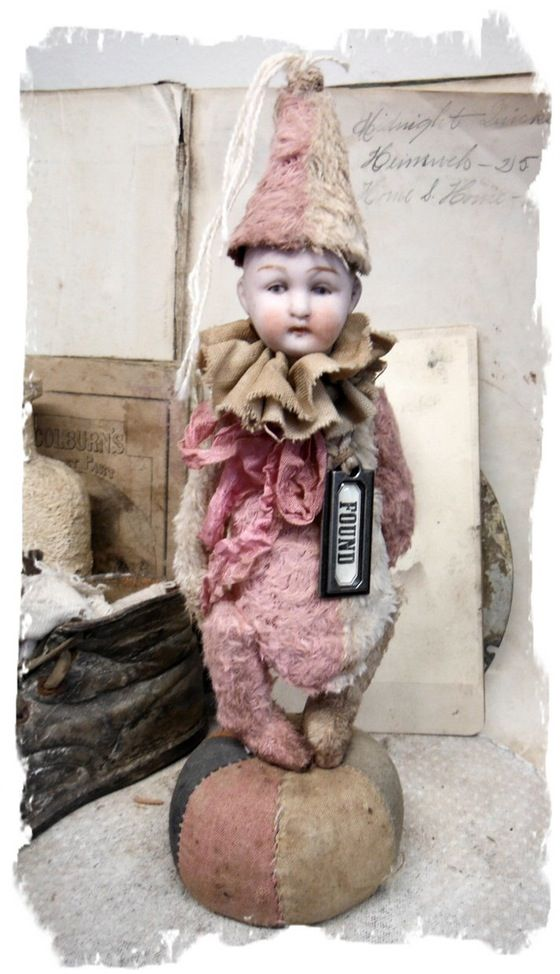 """Image of Pink&Cream POPPET * Antique german Bisque Doll Head 8"""" Circus BoY * By Whendi's Bear"""