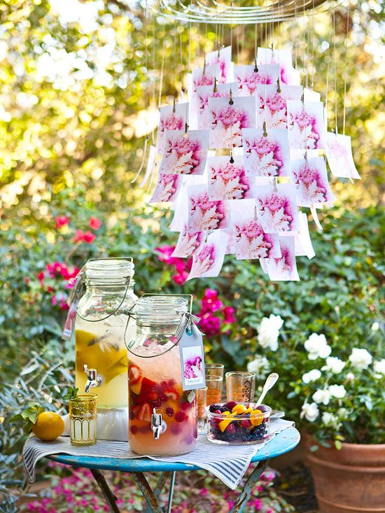 Add a side table and piece of conversation-starting artwork at your next party! Your guests will love the prompt: http://www.bhg.com/party/birthday/themes/outdoor-party-idea-alfresco-affair/?socsrc=bhgpin071714sidetableoutdoorsetting&page=5