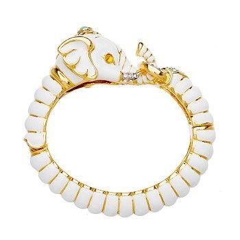 Kenneth Jay Lane White Elephant Head Bracelet White US22D