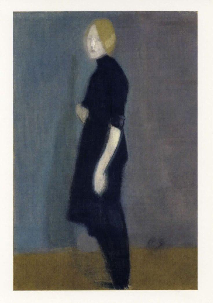Helene Schjerfbeck Flickgestalt Girl Figure Oil on Canvas 1916