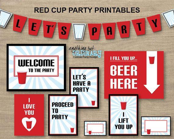 DIY Red Cup Printable Party Package, INSTANT DOWNLOAD, printable digital file