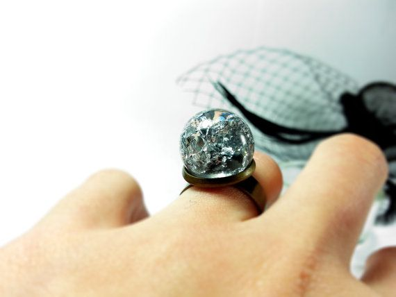 Silver flakes ring Metalic sphere ring Real silver by ByEmilyRay