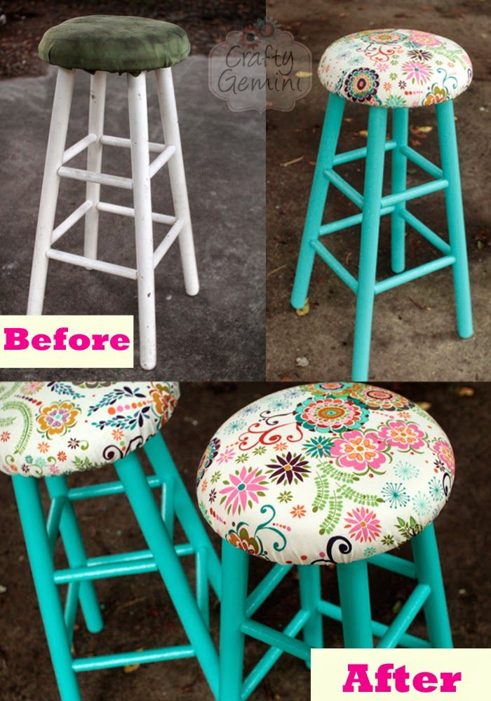Step-by-step Bar Stool Makeover Video Tutorial- in español with English subtitles. I show you how to breathe new life into old bar stools with some paint and reupholstering the seat cushion and even how to sew a new removable cushion cover. #craftygemini #estopintabien @SherwinWilliams @SWlatino