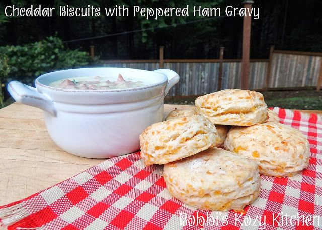 Cheddar Biscuits with Peppered Ham Gravy
