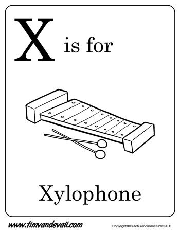 X Is For Xylophone Coloring Page 29 best Alphabe...