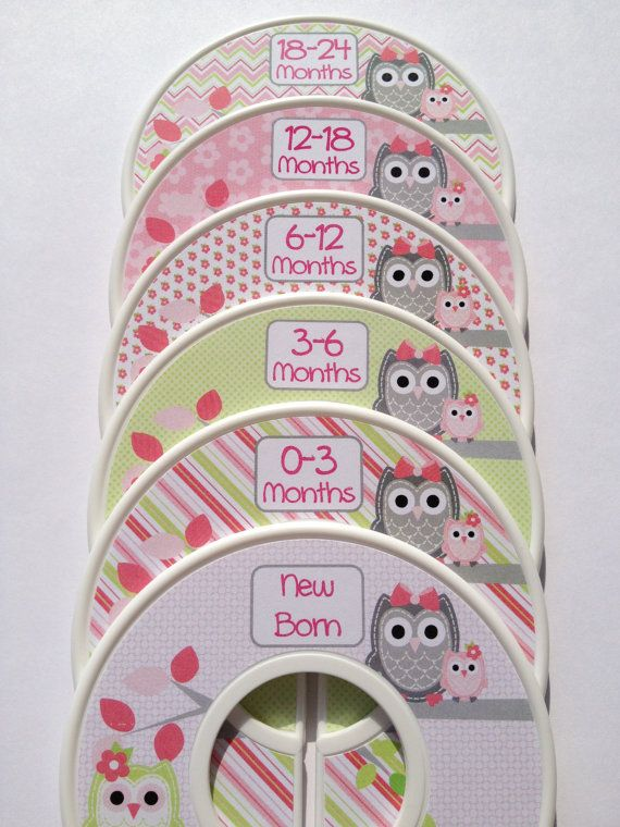 6 Custom Baby Closet Dividers in Pink Green and Grey Owls - Adorable!!!
