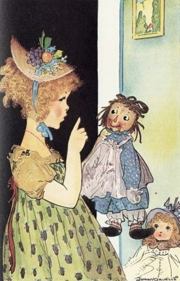 Marcella and Raggedy Ann.  Love vintage Raggedy Ann books, and illustrations by Johnny Gruelle