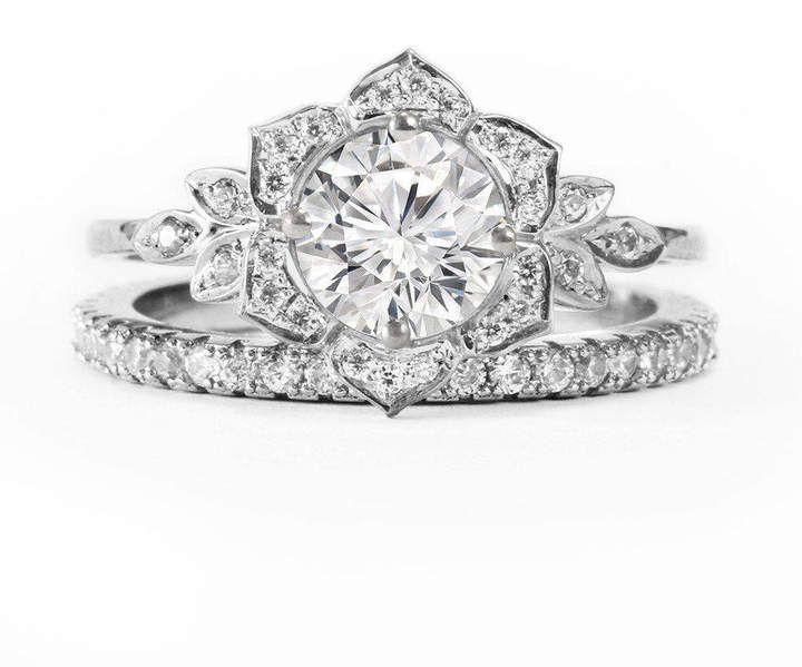 Etsy Diamond Flower Unique Engagement Ring Set Wedding Rings Set