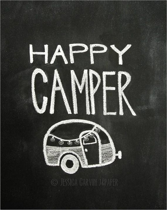 Chalkboard Prints - TWO Digital Files - 8x10 - Happy Camper on Etsy, $15.00