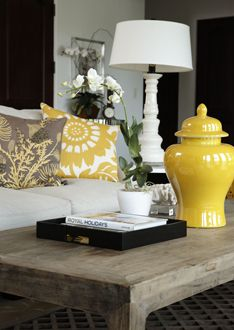 cocktail table vignette in green  Home Staging | Lillian August