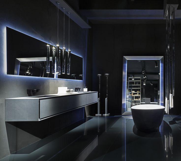 Photo Album Website Black Bathroom Ideas furniture in concrete black LED mirror Cristalplant bathtub covered with black
