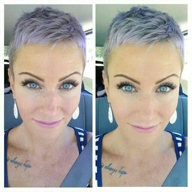 No messing around with this very short cut. I like the colour too. You need strong, beautiful features to get away with such a crop.