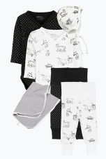 Ellos Kids Vauvan aloituspakkaus, 6 osaa Musta/valkoinen/kuviollinen, Valkoinen/mintunvihreä/raidallinen - Vastasyntyneet - Starttipakkaukset            Ellos Mobile