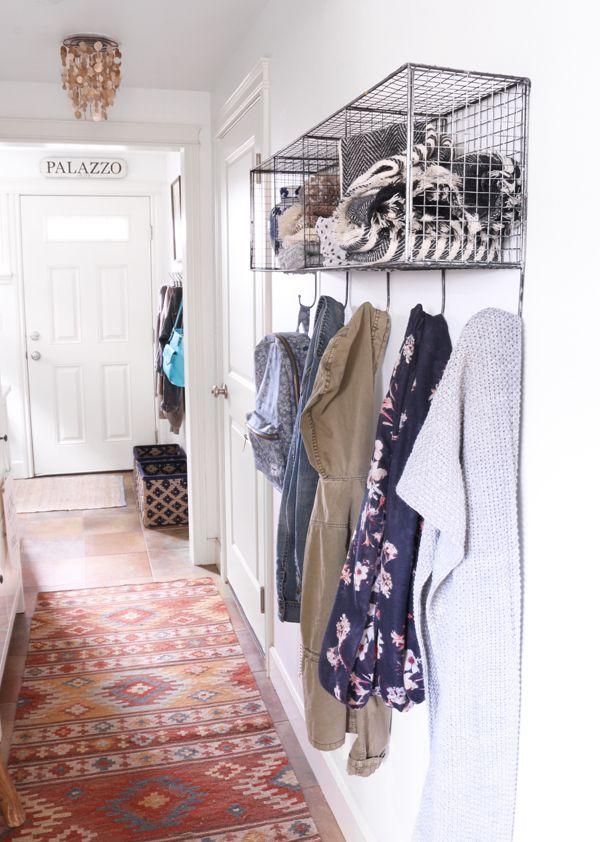 Narrow entry hallway hooks