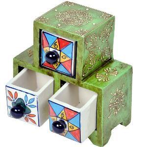 Buy Wooden Ceramic Triple Drawer Handicraft Set by Little India