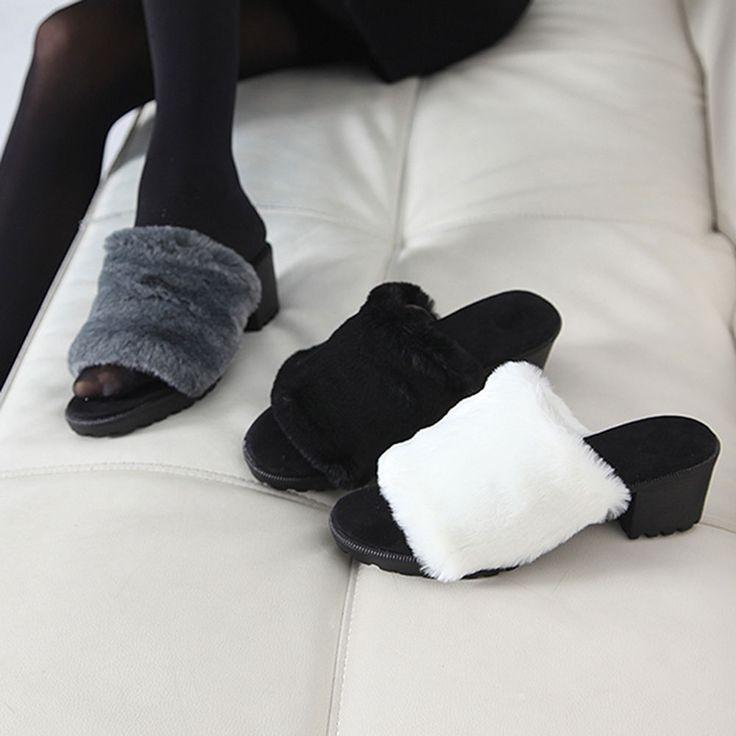 Made In Korea Women's Middle Heel Slipper of Fur Finish [Black / White / Gray] #DreamTree #SlipperShoes