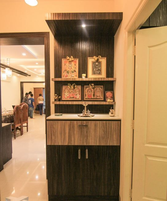 Wooden Pooja Room Designs in Hall
