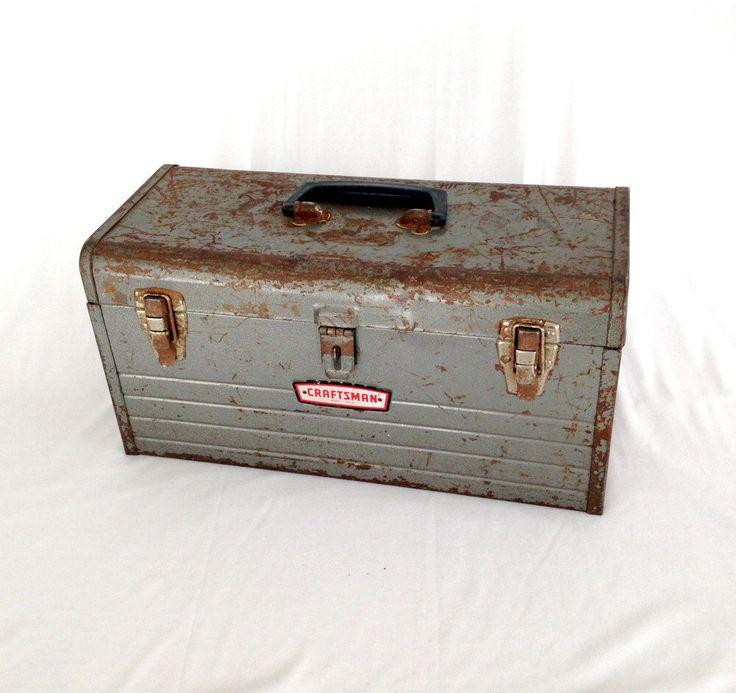 Vintage Tool Box, Craftsman Toolbox, Industrial Decor, Industrial Storage, Craftsman Industrial, Mechanic, Tool Box, Metal Box, Old Toolbox by RustyTruckVintage on Etsy https://www.etsy.com/listing/220643580/vintage-tool-box-craftsman-toolbox