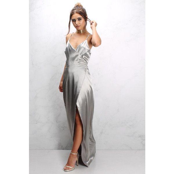 Rare Silver Satin Strappy Maxi Dress ($46) ❤ liked on Polyvore featuring dresses, white day dress, spaghetti-strap maxi dresses, strap dress, white strap dress and maxi dresses