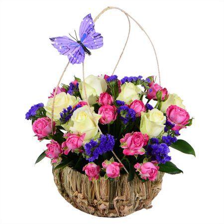 Корзинка с цветами «Крестная фея». Купить букет с доставкой