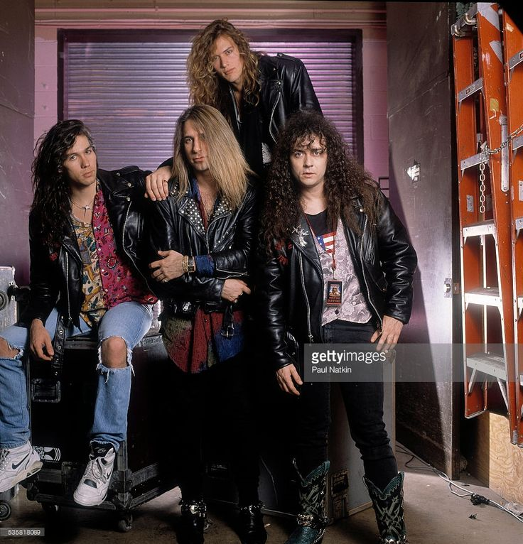 Portrait of the band Slaughter at the Riviera Theater, Chicago, Illinois, April 4, 1991.