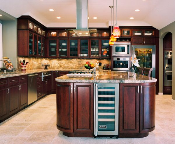 25 best ideas about glass door refrigerator on pinterest for Cherry kitchen cabinets with glass doors