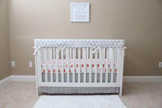 Fox Theme Nursery Set// Orange And Gray Nursery// Modern Nursery Set// Fox Baby Blanket// Fox Fitted Sheet//Gray Crib Skirt//Gray Rail Cover