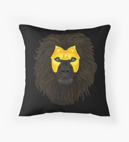Golden Lion Throw Pillow